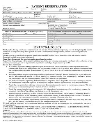 Dentist Asheville NC Dr. Toth Patient Registration Form